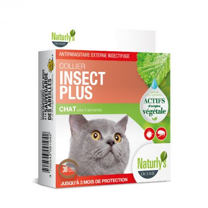 Collier Insect Plus anti tiques et puces pour chat Naturly's