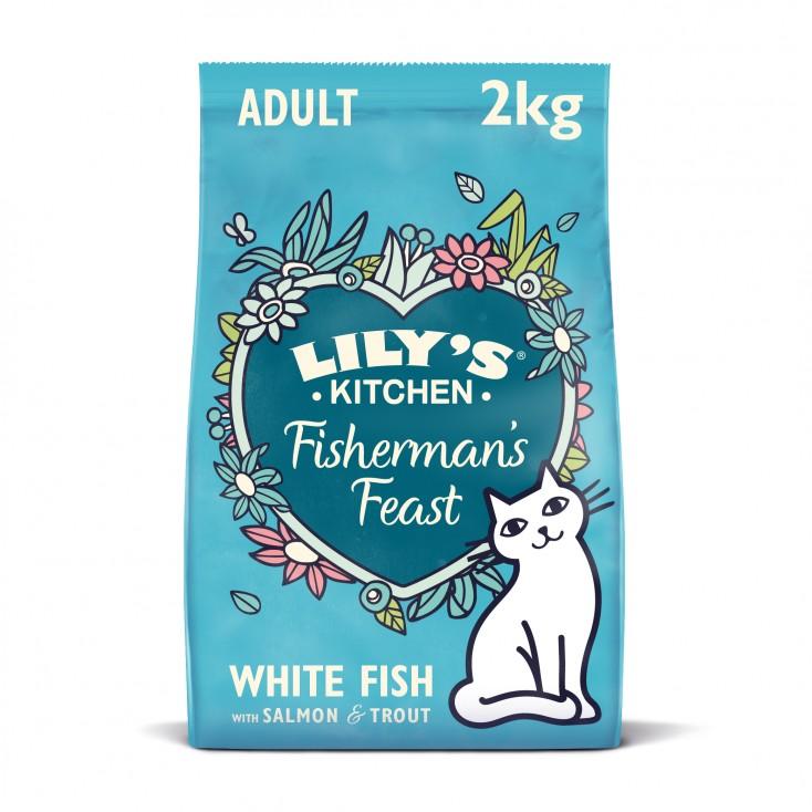 Croquettes pour chats au poisson sans céréales Lily's Kitchen New 2kg