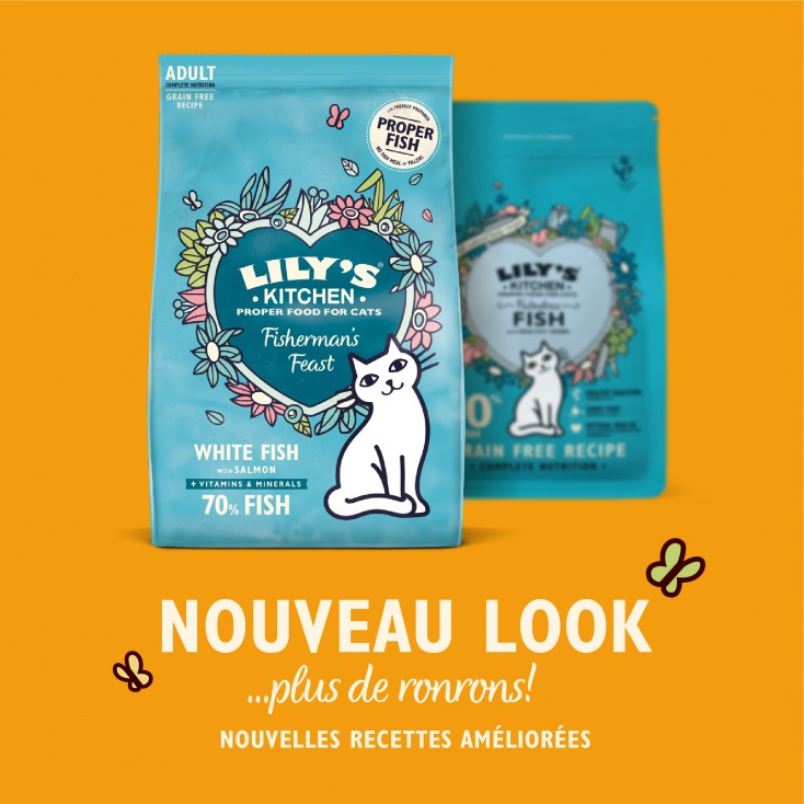Croquettes pour chats au poisson sans céréales Lily's Kitchen New Transition