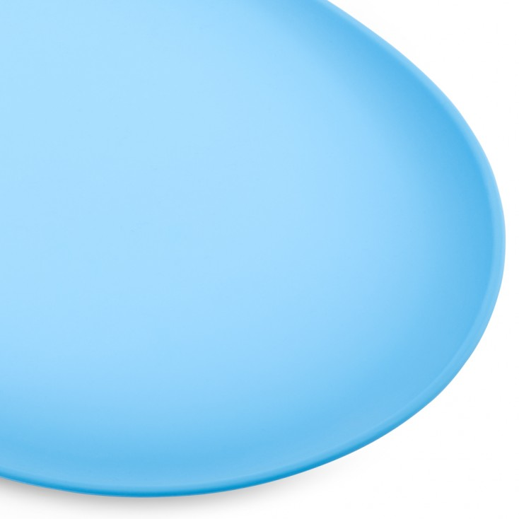 Tapis pour gamelle antidérapant bleu gros plan