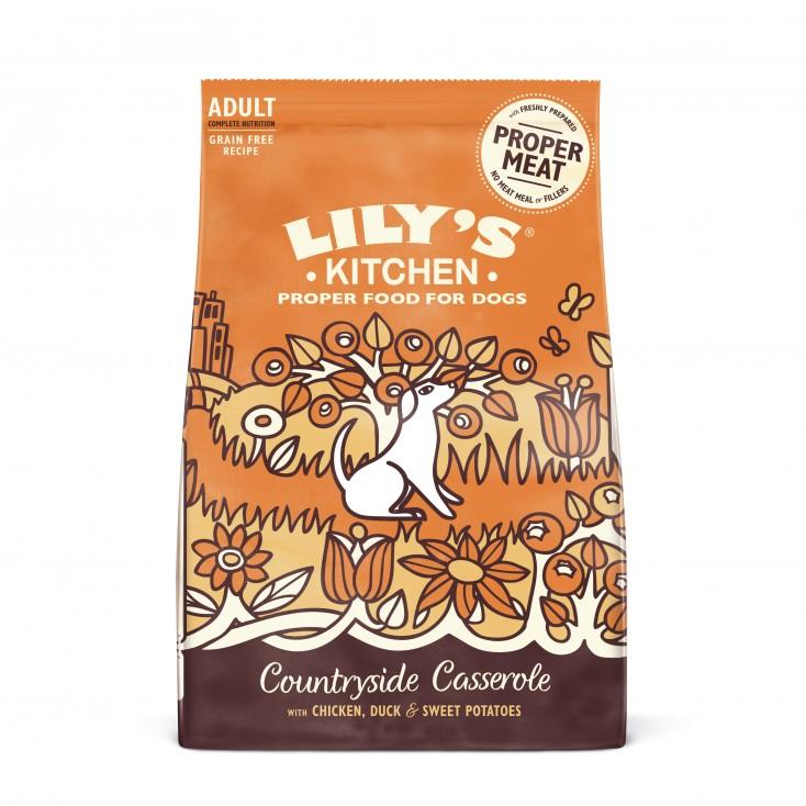 Croquettes sans céréales pour chiens adultes Poulet et canard Lily's Kitchen 12kg