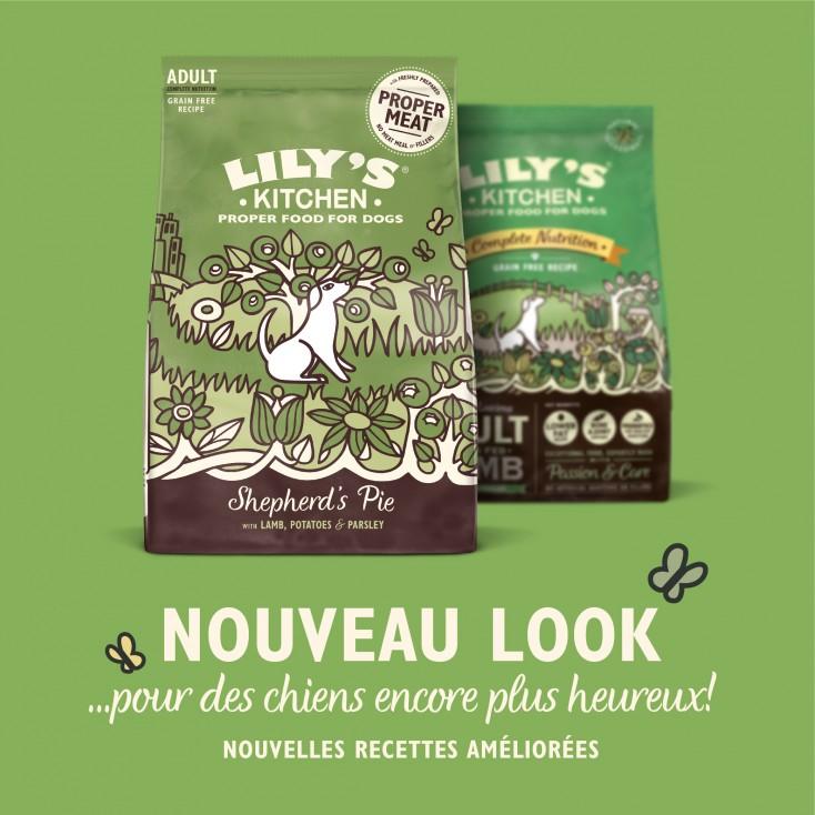 Croquettes sans céréales pour chiens adultes Agneau Lily's Kitchen new look