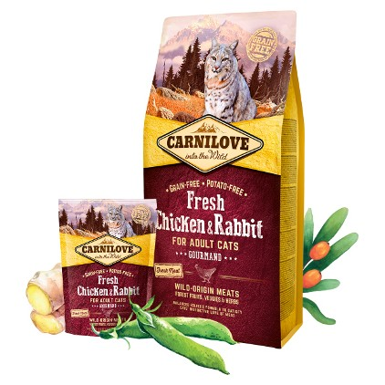 Croquettes Carnilove Fresh chat Poulet et Lapin 2kg