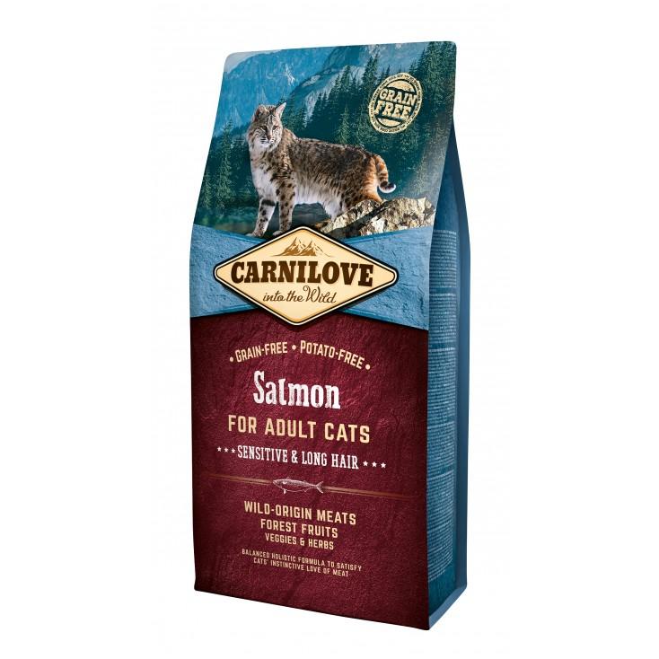 Croquettes au saumon pour chats à poils longs Carnilove 6kg