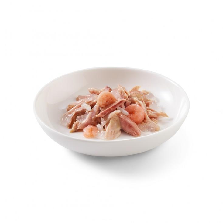 Schesir exclu web - Pack de 6 boites x 85g chat en gelée Thon crevettes assiette