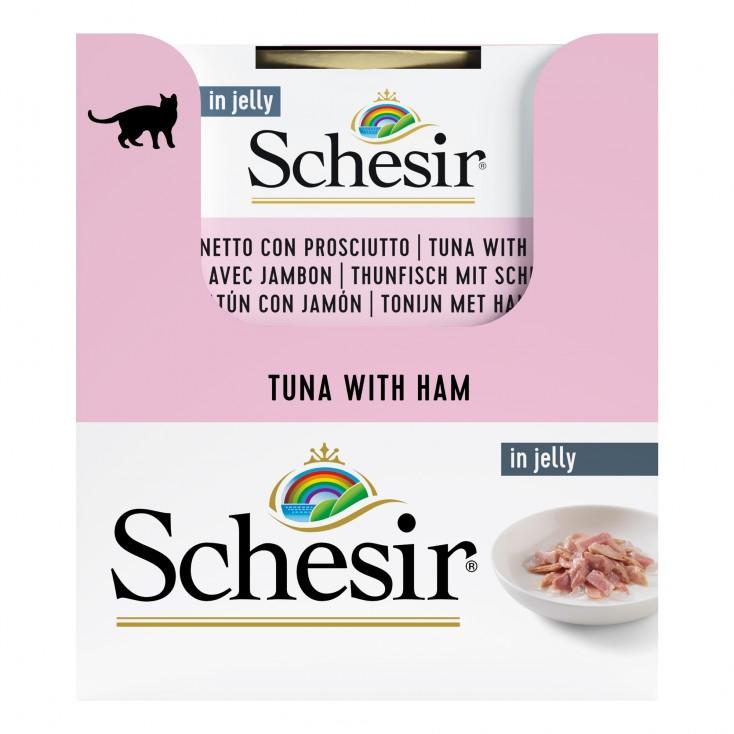 Schesir exclu web - Pack de 6 boites x 85g chat en gelée Thon jambon