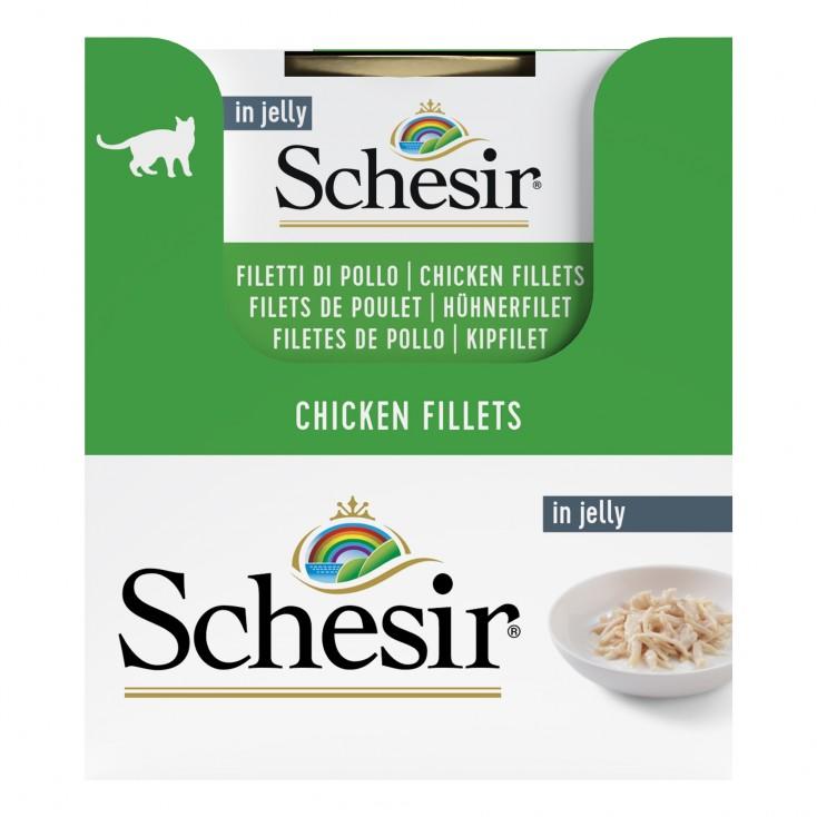 Schesir exclu web - Pack de 6 boites x 85g chat en gelée filets de poulet