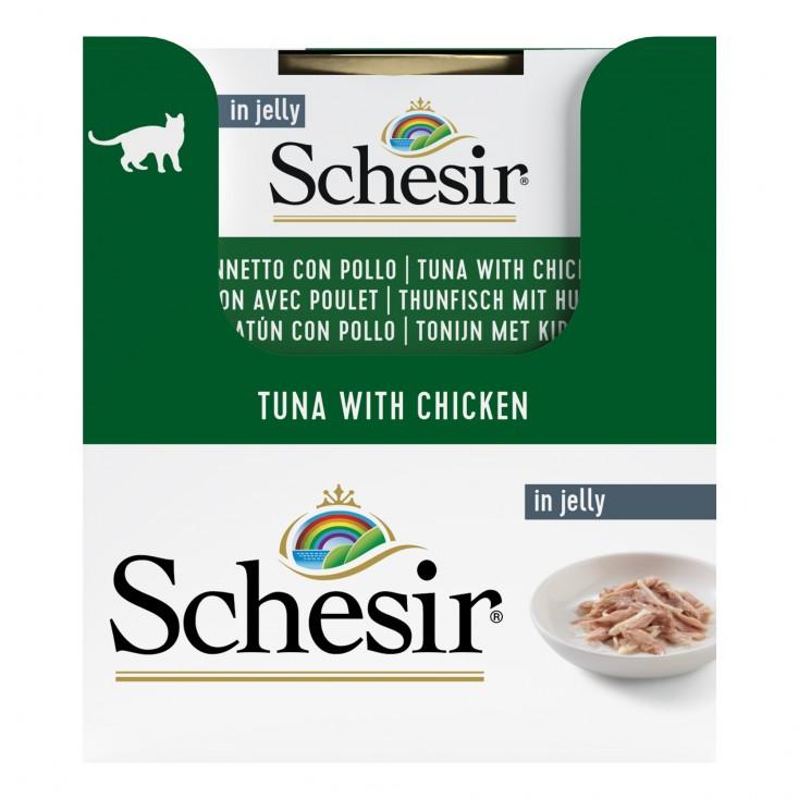 Schesir exclu web - Pack de 6 boites x 85g chat en gelée thon filets poulet