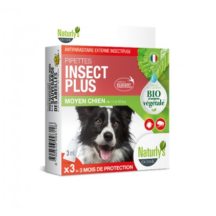 Pipettes antiparasitaire chiens Bio Insect Plus Naturly's