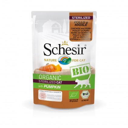 SCHESIR BIO - Sachet fraicheur BIO 85 g - Chat poulet porc citrouille