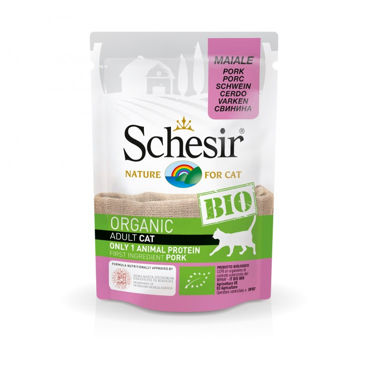 Sachets Bio chat adulte Schesir 8x85g Porc
