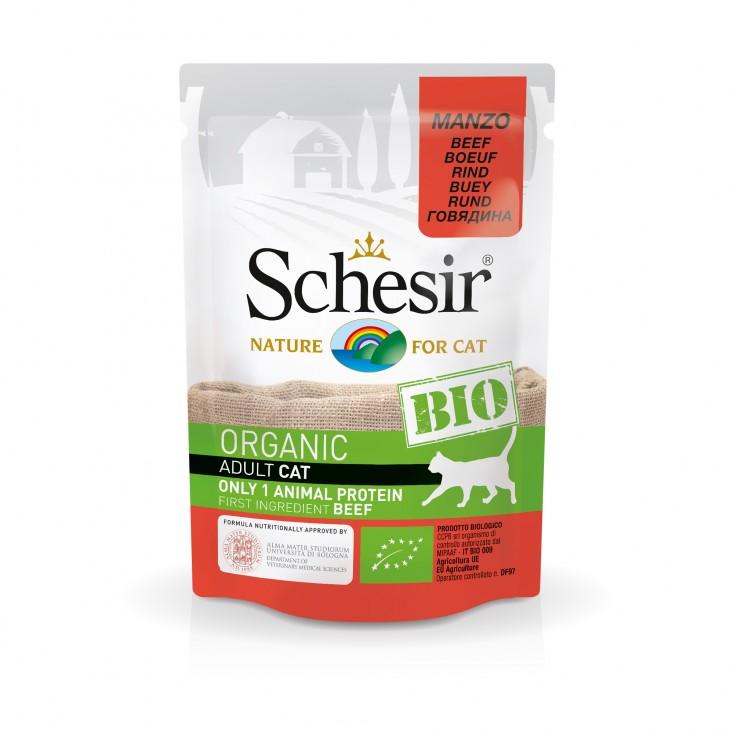Sachets Bio chat adulte Schesir 8x85g Boeuf