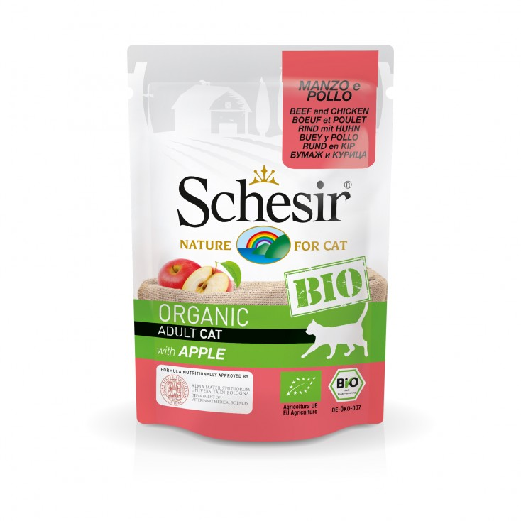 Sachets Bio chat adulte Schesir 8x85g Boeuf Poulet Pomme Bio