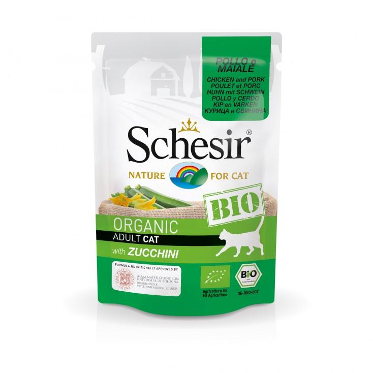 Sachets Bio chat adulte Schesir 8x85g Poulet Porc et Courgettes
