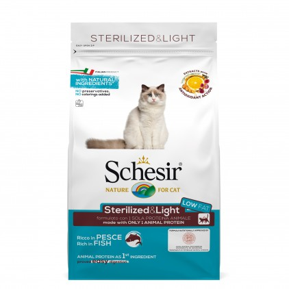 Croquettes Schesir chat stérilisé light poisson 1,5kg