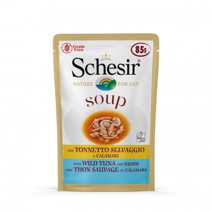 Soupes pour chat Schesir 10x85g Thon sauvage et calamars