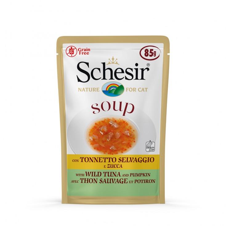 Soupes pour chat Schesir 10x85g Thon sauvage et citrouille