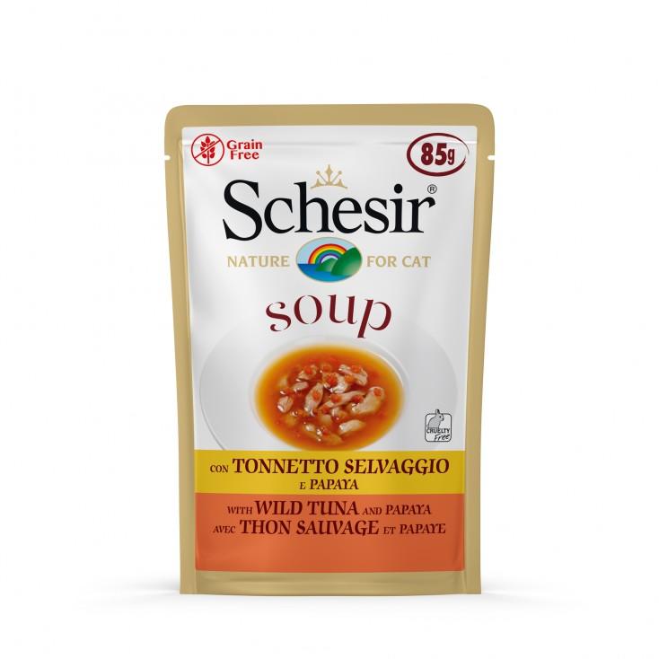 Soupes pour chat Schesir 10x85g Thon sauvage et papaye