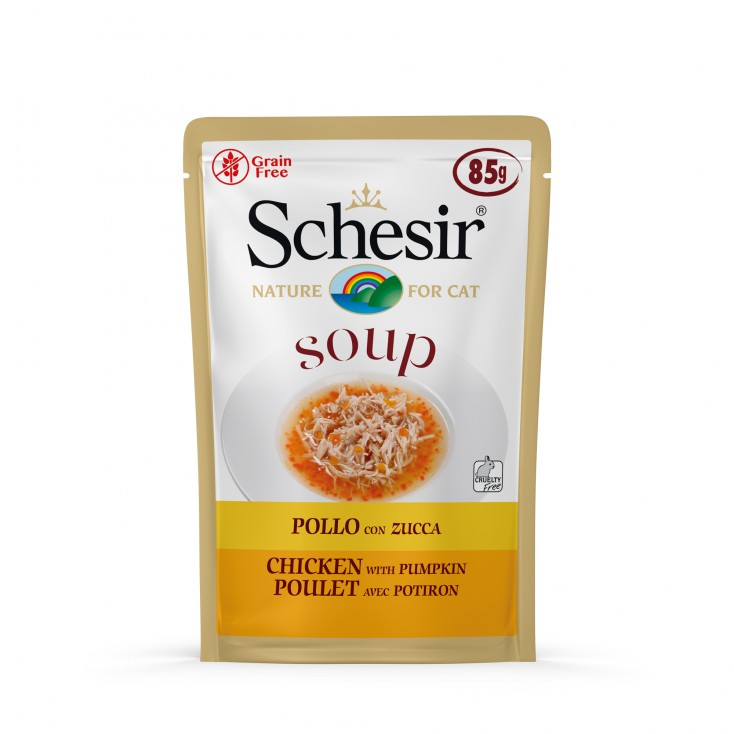 Soupes pour chat Schesir 10x85g Poulet et citrouille