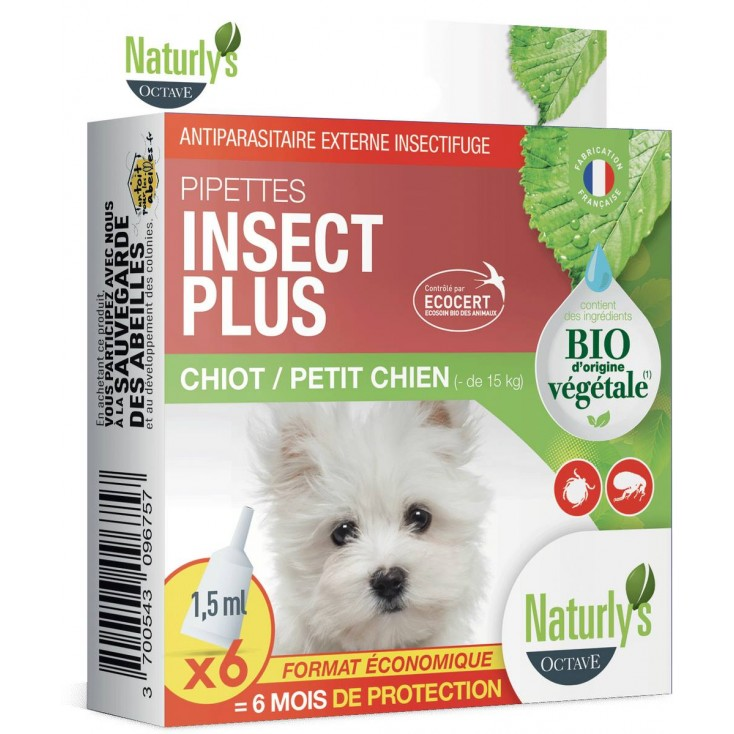 Pipette antiparasitaire chiot 6 x 1,5ml Bio Insect Plus Naturly's